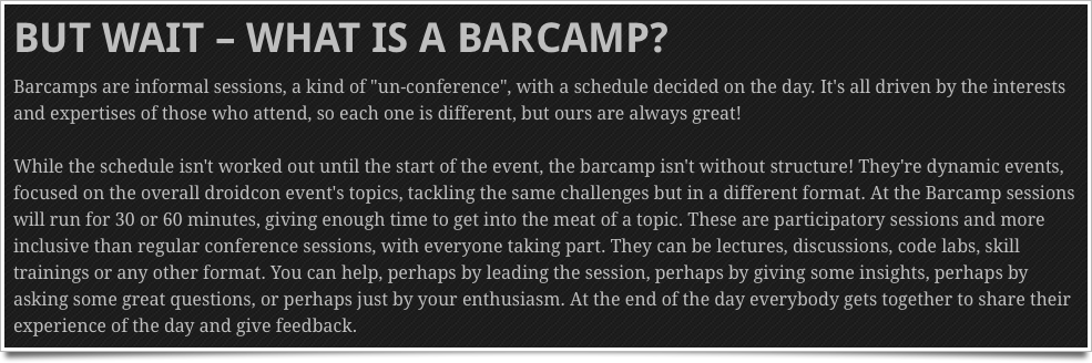 What is a barcamp?