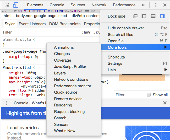Chrome Dev Tools - More Tools
