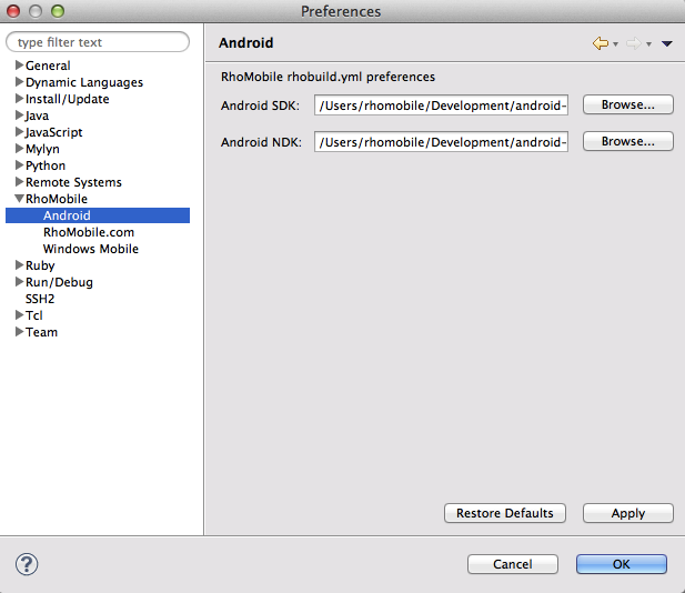 Android SDK and NDK path